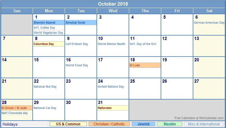 October 2017 Calendar India