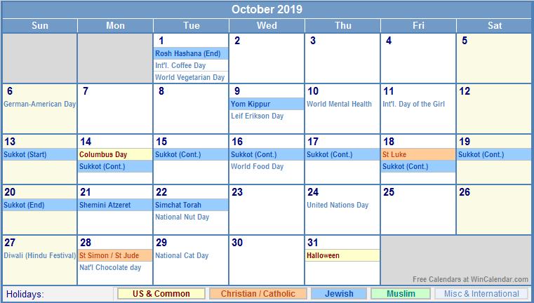 ... 2019 Printable Calendar with US, Christian, Jewish, Muslim & Holidays