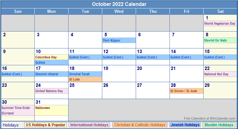 October 2022 Calendar with Holidays - as Picture