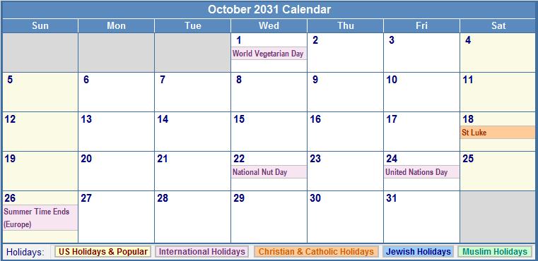 October 2031 Calendar with US, Christian, Jewish, Muslim & Holidays
