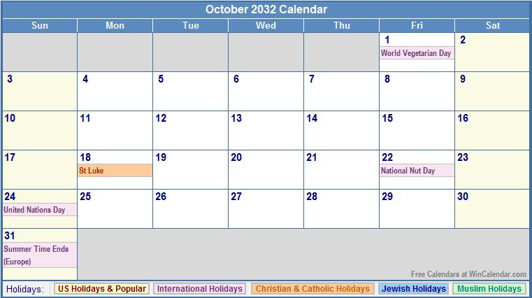 October 2032 Calendar with US, Christian, Jewish, Muslim & Holidays