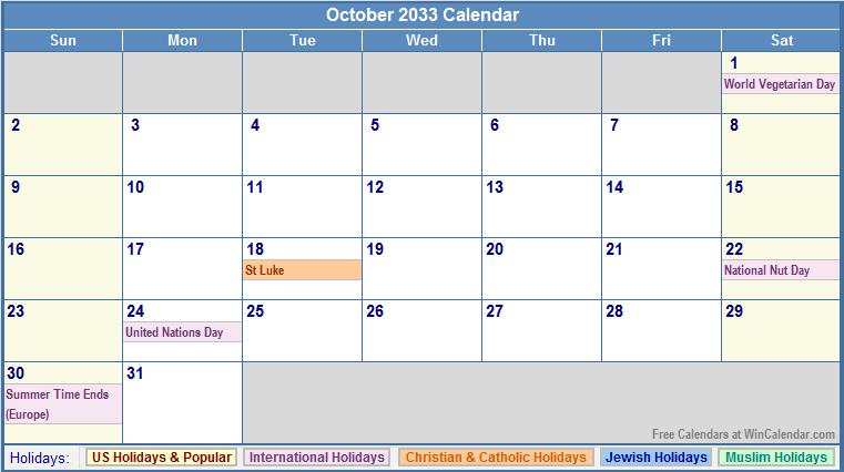 October 2033 Calendar with US, Christian, Jewish, Muslim & Holidays