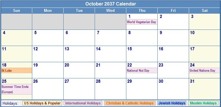 October 2037 Calendar with US, Christian, Jewish, Muslim & Holidays