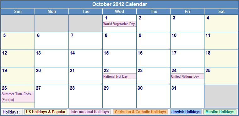 October 2042 Calendar with US, Christian, Jewish, Muslim & Holidays