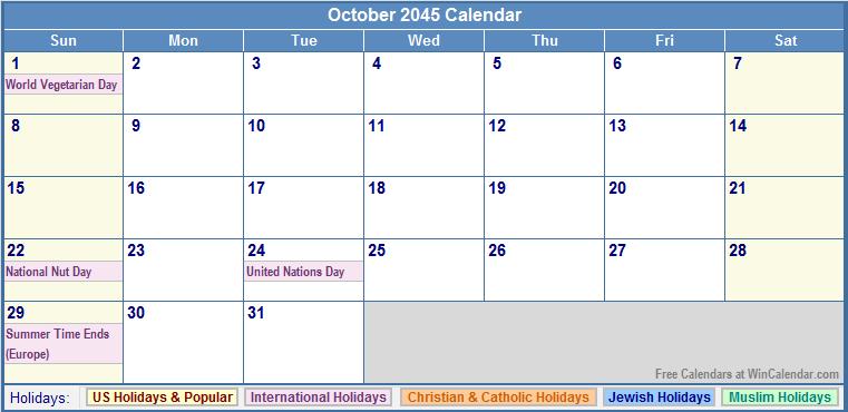 October 2045 Calendar with US, Christian, Jewish, Muslim & Holidays