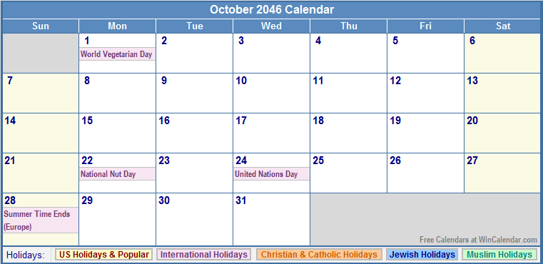 October 2046 Calendar with US, Christian, Jewish, Muslim & Holidays