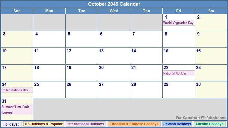 October 2049 Calendar with US, Christian, Jewish, Muslim & Holidays