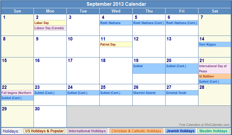 September 2013 Calendar with US, Christian, Jewish, Muslim & Holidays