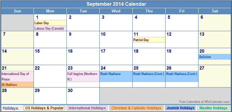 September 2014 Calendar With Holidays