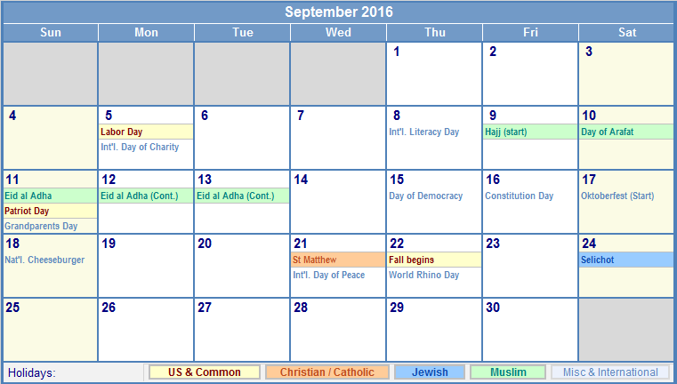 September 2016 Printable Calendar with US, Christian, Jewish, Muslim ...