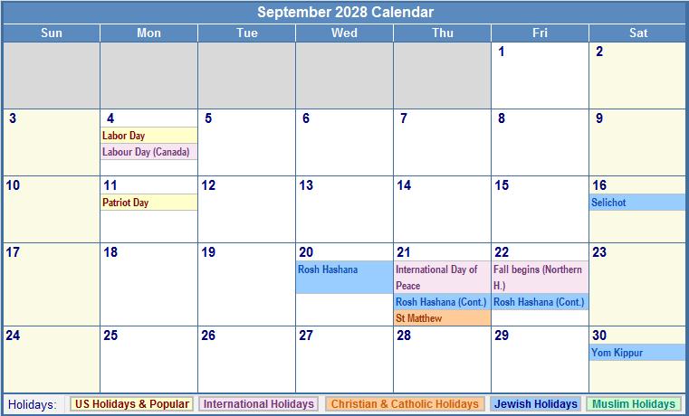 September 2028 Calendar with US, Christian, Jewish, Muslim & Holidays