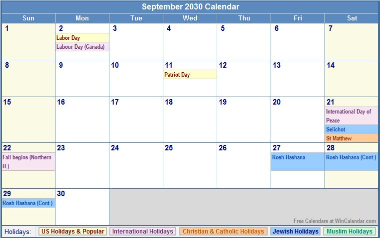 2030 Calendar September 2030 calendar with