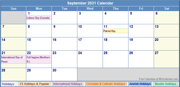 September 2031 Calendar with US, Christian, Jewish, Muslim & Holidays