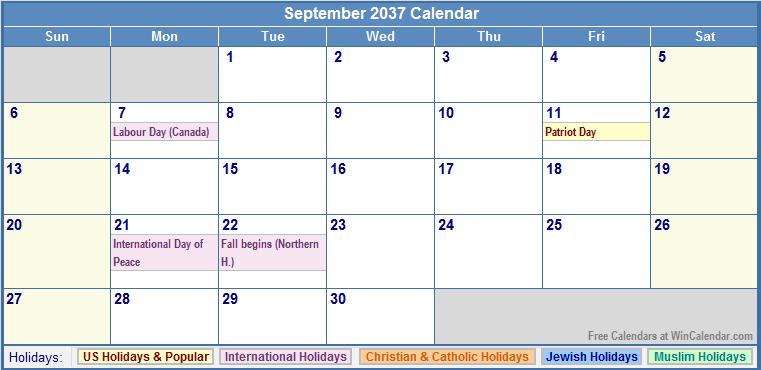 September 2037 Calendar with US, Christian, Jewish, Muslim & Holidays
