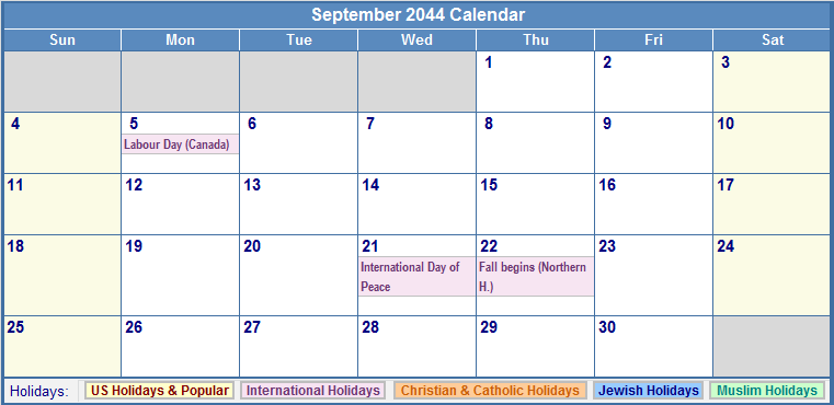 September 2044 Calendar with US, Christian, Jewish, Muslim & Holidays