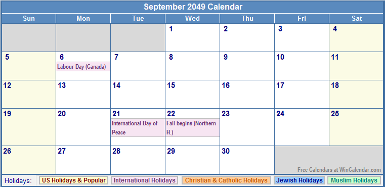 September 2049 Calendar with US, Christian, Jewish, Muslim & Holidays
