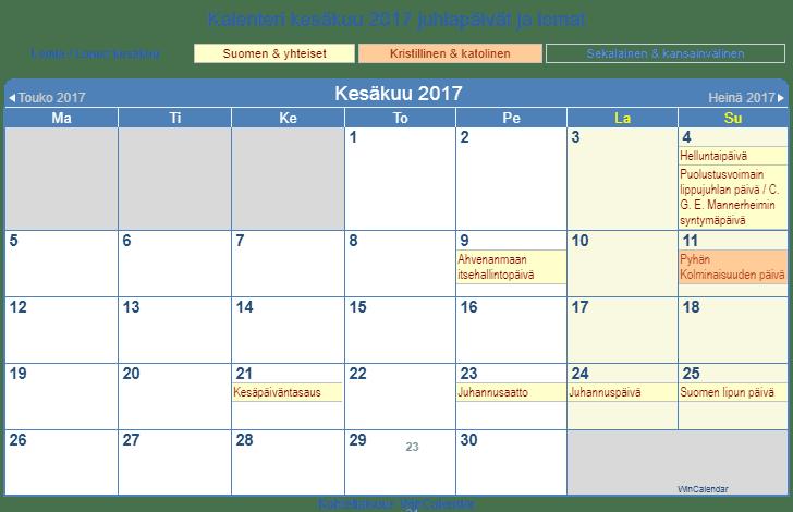 Kalenteri kesäkuu 2017 tulostaa - Suomi