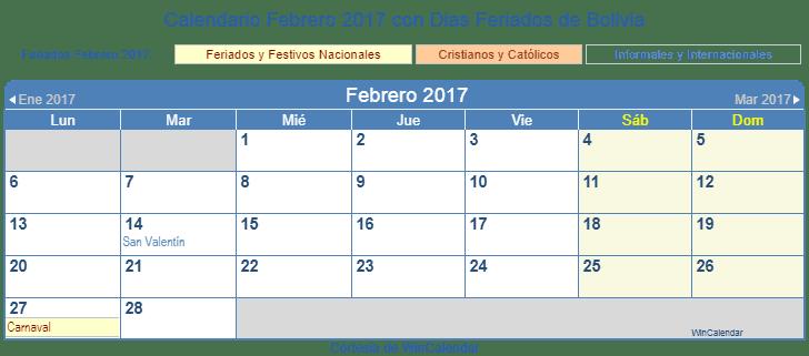 2017 calendar with