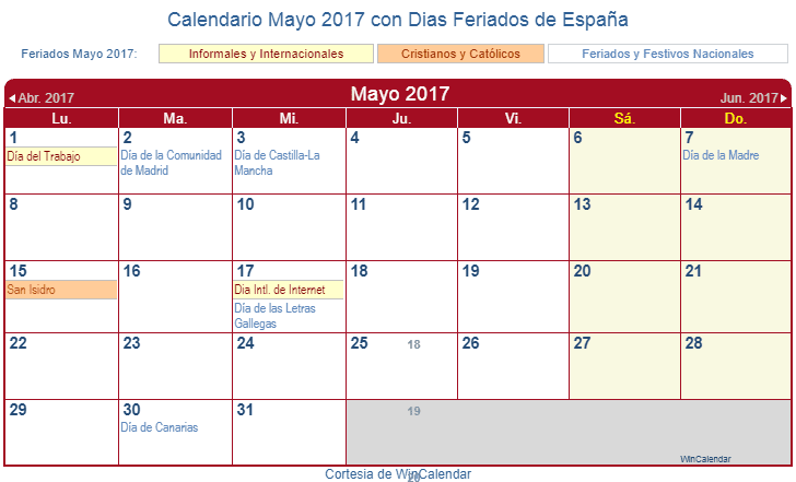 Calendario mayo 2017 para imprimir espa a for Eventos madrid mayo 2017