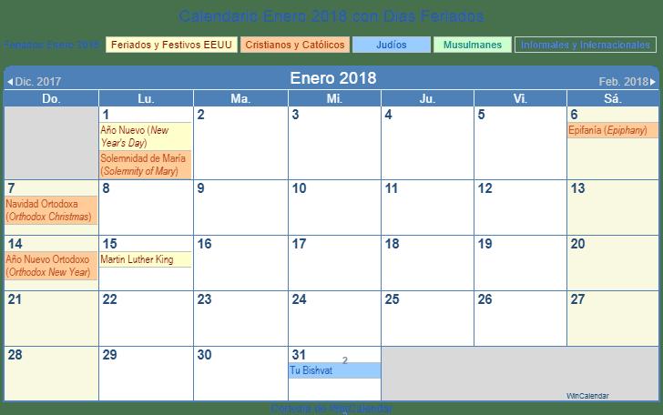 Calendario Enero 2018 para imprimir - Estados Unidos