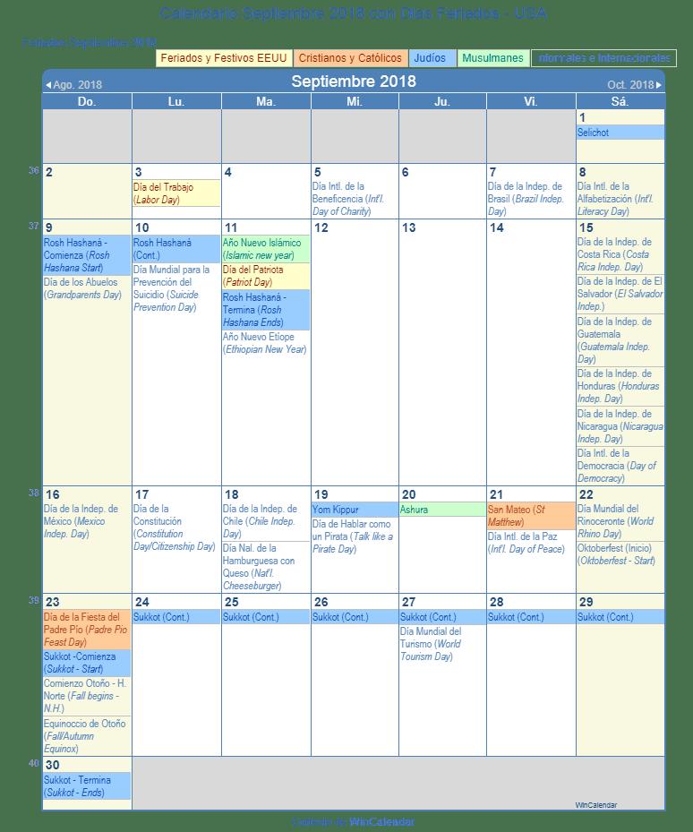 Calendario Septiembre 2018 para imprimir - Estados Unidos