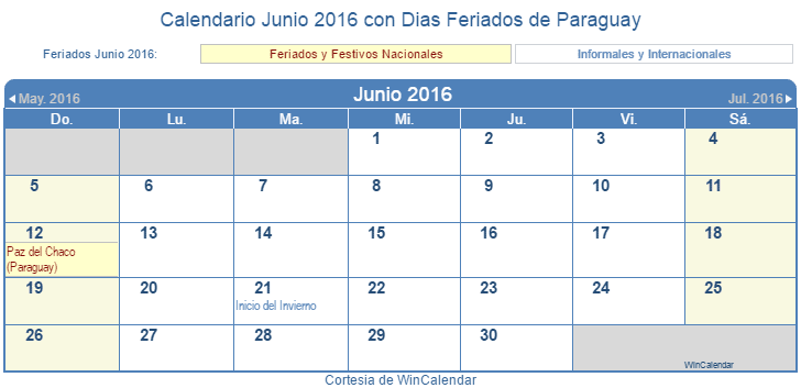 Calendario junio 2016 para imprimir paraguay for Calendario junio 2016 para imprimir