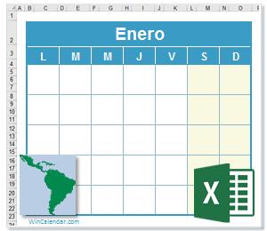 Calendario Excel America Latina