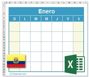 Calendario Excel Ecuador
