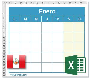 Calendario Excel Perú
