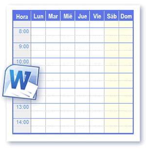 Plantillas Horario Para Imprimir en Formato de Word y Open Office