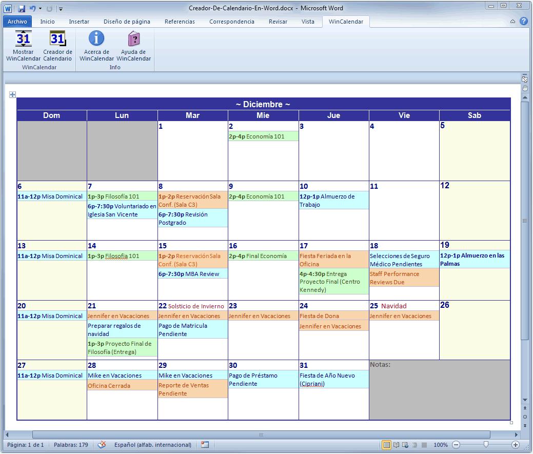 calendar excel 2007