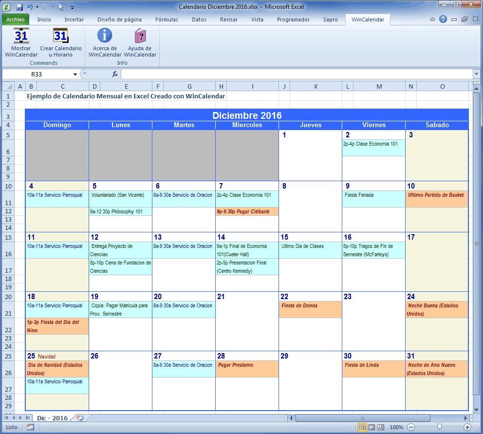 WinCalendar: Criador de Calendário Excel com Feriados