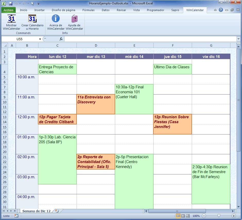 Ejemplo de Calendario Horario en Excel con data de Google y Outlook.