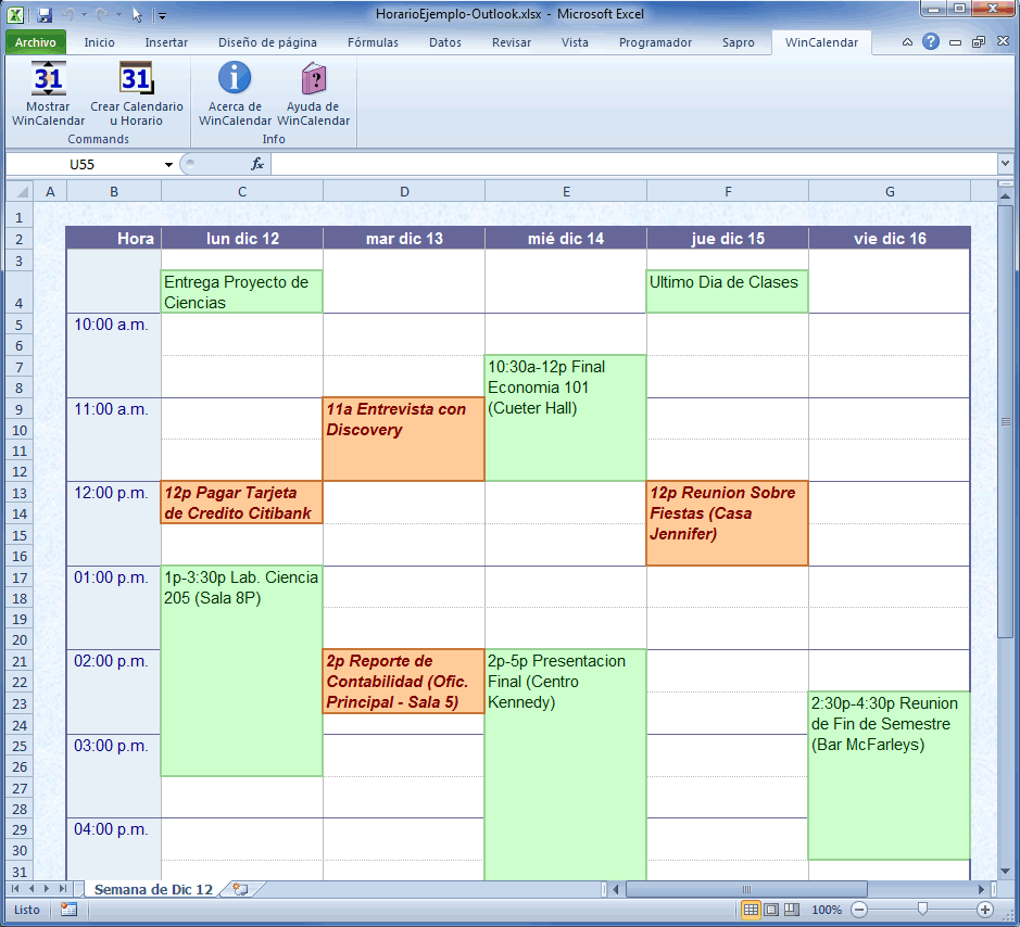 calendario horario en excel