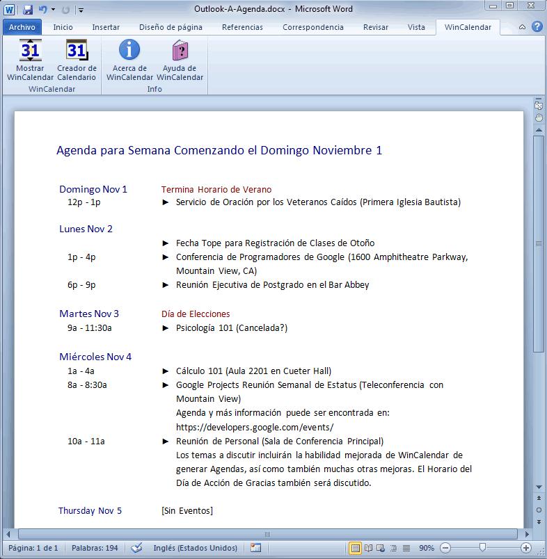 Importar Outlook Calendar para Excel e Word – Agenda Word