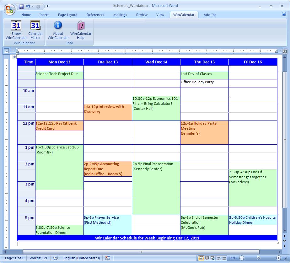 weekly schedule builder