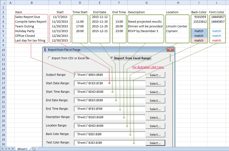 import from excel ranges