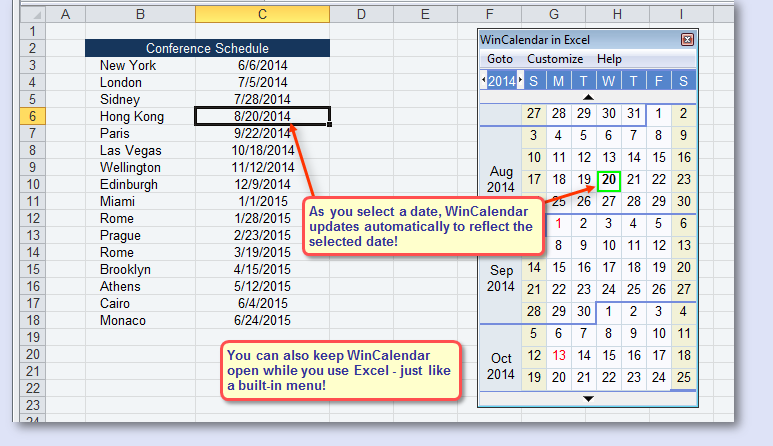excel date calendar reference