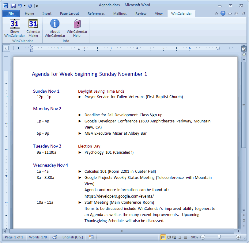 Calendar Maker Calendar Creator for Word and Excel – How to Create an Agenda in Word