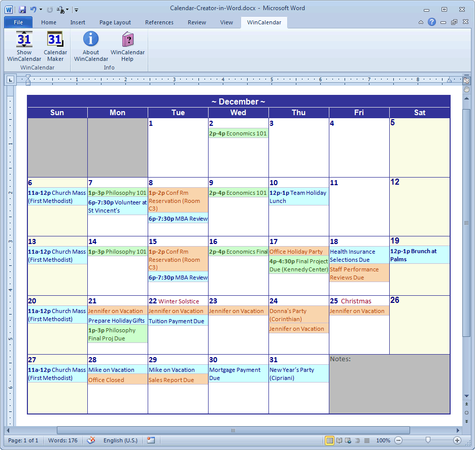 Calendar Maker Calendar Creator for Word and Excel – Sample Calendar