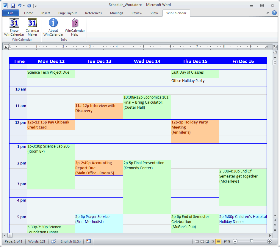 Calendar Maker & Calendar Creator for Word and Excel