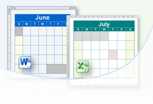 create calendars schedules agendas in native word excel format