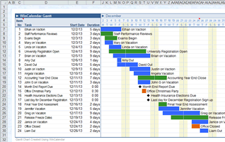 Google Calendar to Gantt Layout in Excel