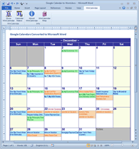 Google Calendar to Monthly Calendar in Word