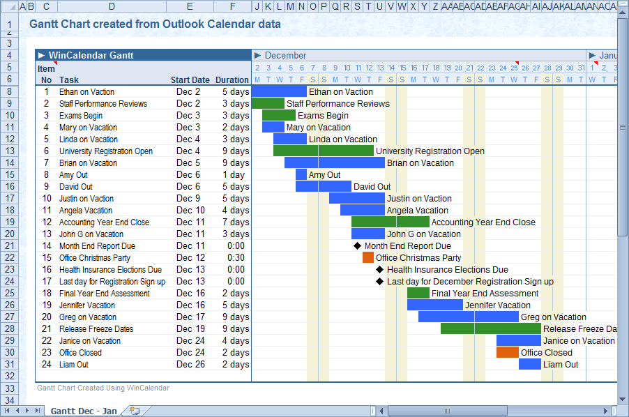 Convert Outlook Calendar to Excel and Word
