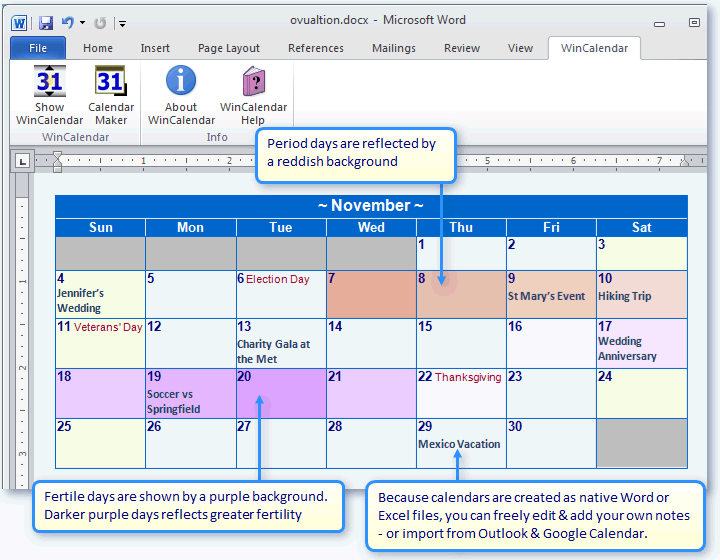 Create a Period & Fertility calendar in Word or Excel
