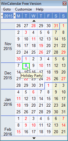 Windows Desktop Calendar for Excel and Word