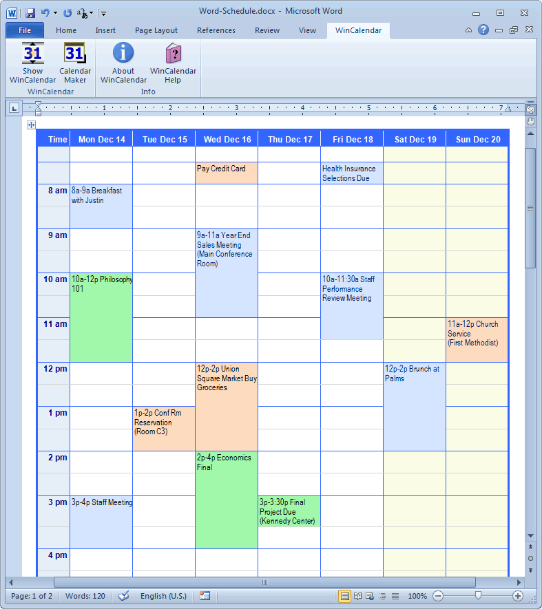 Ms Word 2013 Calendar Template