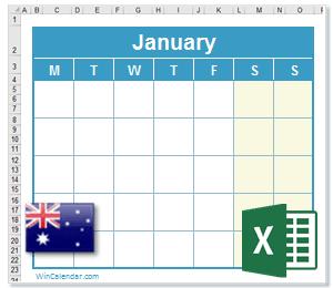 Calendar Excel Australia