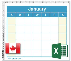 Calendar Excel Canada